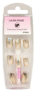 <b>LP Professional Airbrush Gold Chrome Nails - &#39;with glue&#39; (24 pieces)</b>